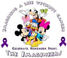 Don't really like this design but I think we should incorporate imagineers Pancreatic Cancer Awareness, Childhood Cancer Awareness, Breast Cancer Walk, Breast Cancer Survivor, Relay For Life, Disney Ideas, Disney Theme, Fundraising Ideas, Team Names