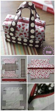 DIY Fabric Mini Tote Handbag Tutorial Diy Bag and Purse diy purse Handbag Tutorial, Diy Handbag, Diy Purse, Tote Tutorial, Diy Tutorial, Tutorial Sewing, Bag Patterns To Sew, Sewing Patterns, Duffle Bag Patterns