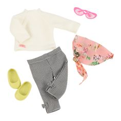 Youll shine twinkle and feel as good as you look with this accessory set. Includes: 1 sheet of stickers 1 drum 1 headband 1 necklace and 1 pair of sunglasses. Our Generation Retro Outfit - Check it Out Ropa American Girl, American Girl Doll Sets, American Girl Clothes, Girl Doll Clothes, Girl Dolls, Our Generation Doll Accessories, Our Generation Doll Clothes, Poupées Our Generation, Lime Green Shoes
