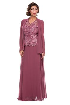 Sheath V-Neck Floor-Length Chiffon Charmeuse Mother of the Bride Lace Dress With Matching Lace Long Sleeves Bolero Jacket