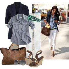 navy blazer, chambray shirt, white jeans, brown leather bag. I would wear this with professional flats though.