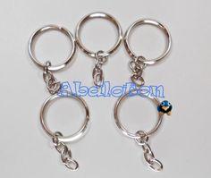 anillas redondas llaveros con cadena