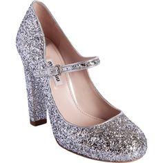 Miu Miu Glittered Round Toe Mary Jane ($645) ❤ liked on Polyvore