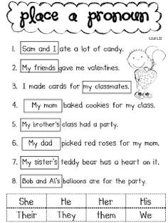 subject pronouns worksheet for grade 3 - Google Search
