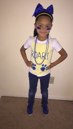 Pep rally day! We made her shirt with some paint  And bought some beads and bows her school colors