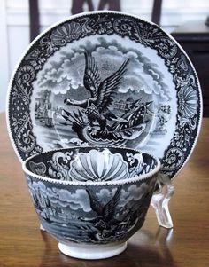 "Rare Black Staffordshire Transferware Cup & Saucer, ""Eagle"" Ralph Hall c1830"