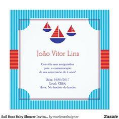 Convite bonito, moderno e colorido do chá de fraldas. Este convite é ideal para um chá de fraldas com um tema náutico. Caracteriza barcos de vela dentro de um quadro ornamentado em uma paleta de cores vermelha, azul e branca.