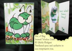 An internal window card is a small but sturdy card. It has 3 layers so it is best to use thin card (I use 160gsm). In the kit you will get the main card, backing sheet, insert, decoupage, two envelope pieces and instructions.    This is a humorous card showing a large green bug who can be decoupaged.
