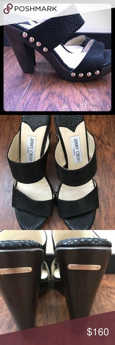 Jimmy Choo sandals Jimmy Choo wooden heeled sandals. These are in EXCELLENT condition. Black snake skin leather with silver metal detailing. Very comfortable to walk in. Size euro 41 but they run small and fit like a 9.5-10 US Jimmy Choo Shoes Sandals