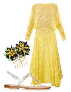 Vickisarge hair slide, net-a-porter.com  Musa sandals, net-a-porter.com  Preen by Thornton Bregazzi dress, matchesfashion.com