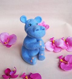 Needle Felted wool blue hippo  needle felted by FluffyFuzzy, $35.00