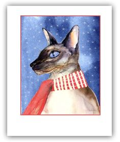 Items similar to Siamese cat christmas cards - seal point holiday cards- chocolate seal point- cat christmas cards- siamese lovers gift- watercolor cats on Etsy Cat Christmas Cards, Christmas Sloth, Unique Christmas Cards, Woodland Christmas, Holiday Cards, Lovers Gift, Gift For Lover, Cat Lovers, Angry Cat