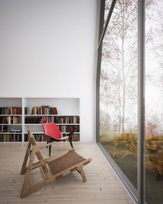 Full height glass wall/window. A sense of co-existence with the environment.