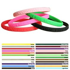 Promotional 1/4-inch Mini Embossed Silicone Awareness Wristbands Item #WME (Min…