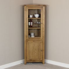 Eton solid oak furniture corner display cabinet unit with light ...