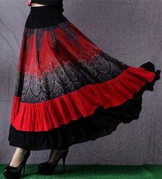 Gypsy Flame Printed Oversized Hem Long Skirt BOHO Vintage Splice Skirts Womens Red maxi skirt faldas saias longa saia longa 2016