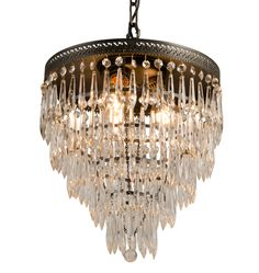 5-Tiered Crystal Chandelier w/ Filigree Ring c1920s  R9320