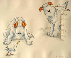 Anita Jeram - 'Why are you sitting there? Asked a nosy bird?' - From 'The Most Obedient Dog in the World' published by Walker Books Ltd in 1993