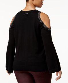Michael Michael Kors Plus Size Cotton Embellished Cold-Shoulder Top - Black 2X