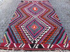 """$440 Vintage Turkish Classic Antalya Kilim Rug 70"""" x 112"""" Area Rug Kelim Carpet Rug #Turkish"""