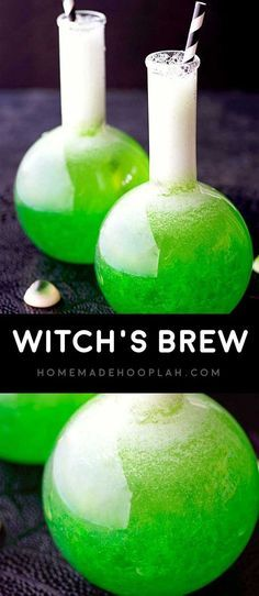 Witch's Brew! Classic lime jello mixed with fruit, juice, vodka, and a dash of sprite. A perfect Halloween drink for any type of creepy party!   HomemadeHooplah.com