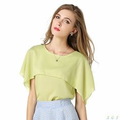 New Fashion Spring Summer Women Blouse Batwing Spring Summer Loose Chiffon