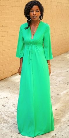 Modest 3/4 length sleeve jade maxi dress with front tie   Mode-sty