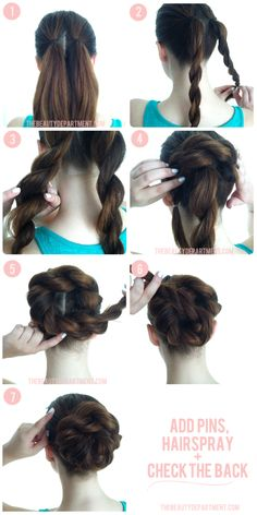Bulk up a boring bun with 2 rope braids. #hairstyle