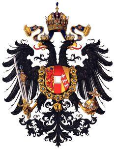 El escudo de armas del imperio austrohúngaro, c.1815; incluyendo los brazos de los Habsburgo; la Orden del Toisón de Oro; la doble águila; y la corona de Rudolf.