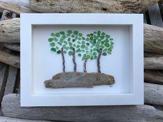 Forest of trees Sea Glass Art by lieu Pebble art Driftwood