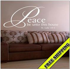 Peace Be Unto This House Luke 10:5 Vinyl Lettering Wall Quotes Words Wall Decal Decor Bible Verse Scripture Christian Religious Inspirational