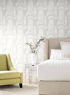 Curves Ahead Wallpaper in Black and Ivory design by York Wallcoverings Go Wallpaper, Metallic Wallpaper, Wallpaper Samples, Wallpaper Ideas, Luxury Homes Dream Houses, Dream Homes, Tin Tiles, Prepasted Wallpaper, Contemporary Wallpaper
