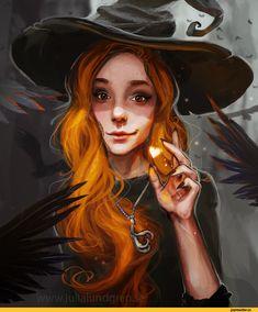 красивые картинки,Julia Lundgren,ведьма,арт девушка,рыжая,Fantasy,Fantasy art,art,арт