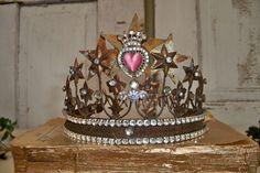 French Santos inspired crown tiara vintage by AnitaSperoDesign