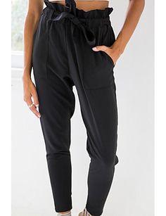 Mujer Sencillo Tiro Medio Microelástico Chinos Pantalones,Corte Ancho Un Color