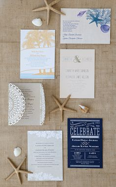 Beach and nautical wedding invitations from Invitations by Dawn