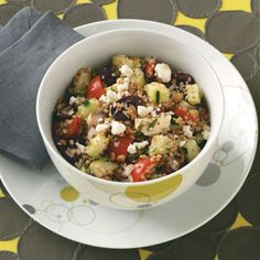 Bulgur Greek Salad Recipe--I've tried to start eating healthier, and this recipe is wonderful, versatile and the ingredients are easy to find... and to have on hand at all times.