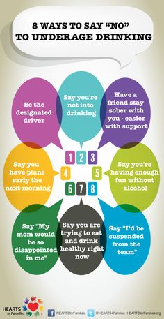 "8 ways to say ""no"" to underage drinking [infographic]"