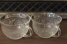 2 Clear Cups Sandwich Depression Glass  Clear by CatChristie, $7.99