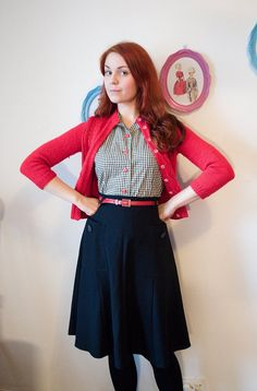 CheriseDesign -- 40s style skirt with large pockets, A-line in black poly-rayon blend