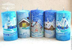 """Купить Свечи новогодние """"Тепла и Уюта"""". Роспись. - свеча новогодняя, подарок на любой случай"""