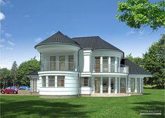 Projekt domu LK&827 Village House Design, Village Houses, Concrete Staircase, Exotic Homes, Apartment Floor Plans, Dream House Exterior, Round House, Modern House Plans, Pool Houses