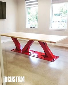 Custom Conference Tables Desks designed & built for your office or home! Welded Furniture, Timber Furniture, Furniture Legs, Steel Furniture, Furniture Decor, Modern Furniture, Furniture Design, Desk Redo, Vintage Industrial Decor