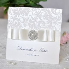 Ivory Bow handmade wedding invitation