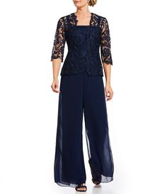 2018 Women's Floral Lace Mother Of The Bride Metallic Lace and Chiffon Plus Size Pantsuit With Lace Jacket Chiffon Pants, Lace Chiffon, Lace Cardigan, Lace Jacket, Floral Jacket, Stunning Dresses, Sexy Dresses, Bride Dresses, Bridesmaids