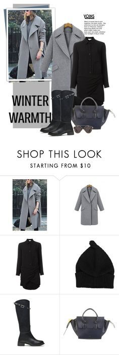 """""""Yoins Winter  Style - Grey Coat"""" by beebeely-look ❤ liked on Polyvore featuring IRO, CÉLINE, Christian Dior, women's clothing, women's fashion, women, female, woman, misses and juniors"""