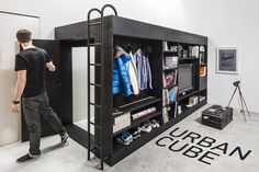 Multifunctional Furniture like this would be great in a dorm. Bed on top, closet underneath and entertainment center / desk out front. This model by Living Cube. #dorm #DormLiving #DormLife