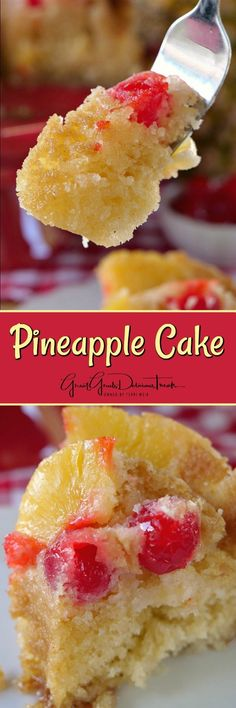 Topped with additional pineapples and cherries, this cake is super moist, definitely sweet and has chunks of pineapples throughout the cake.