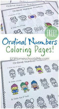 FREE Ordinal Numbers Coloring Pages - FUN way for preschool, kindergarten, and first grade kids to practice terms like first, second, last, etc. These free printable worksheets make practicing this math concept fun by turning it into a math coloring page.