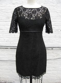 Black Lace 60s Inspired Sheath Dress with Sleeves by kimeradesign, $398.00